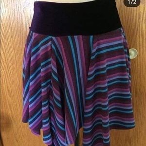 Striped asymmetrical pixie style skirt